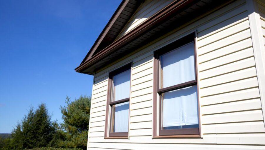 White vinyl siding installed on a house